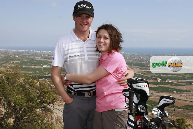 Micael Hoey (NIR) pictured with wife Bev on top of the world after winning the 2011 Alfred Dunhill Links Championship. Photographed above Castellon, Spain, 22nd October 2011 (Photo Eoin Clarke/www.golffile.ie)