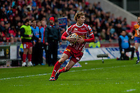 Saturday 10 May 2014<br /> Pictured: Liam Williams of the Scarlets <br /> Re: Scarlets v Blues Rabo Direct Pro 12 Rugby Union Match at Parc y Scarlets, Llanelli, Wales