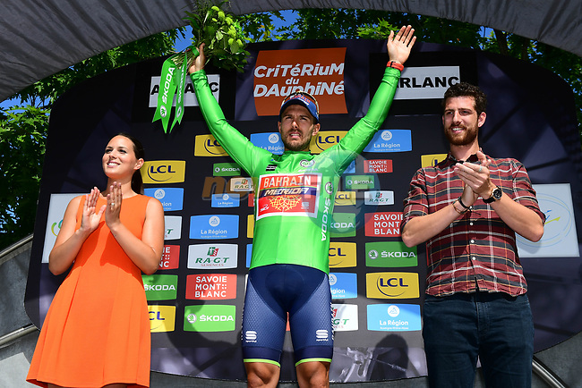 Sonny Colbrelli (ITA) Bahrain-Merida takes over the points green jersey on the podium at the end of Stage 2 of the Criterium du Dauphine 2017, running 171km from Saint-Chamond to Arlanc, France. 5th June 2017. <br /> Picture: ASO/A.Broadway | Cyclefile<br /> <br /> <br /> All photos usage must carry mandatory copyright credit (&copy; Cyclefile | ASO/A.Broadway)
