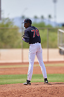 AZL Indians Blue relief pitcher Luis C. Garcia (70) during an Arizona League game against the AZL Indians Red on July 7, 2019 at the Cleveland Indians Spring Training Complex in Goodyear, Arizona. The AZL Indians Blue defeated the AZL Indians Red 5-4. (Zachary Lucy/Four Seam Images)