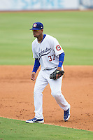 Chattanooga Lookouts second baseman Angel Sanchez (37) on defense against the Montgomery Biscuits at AT&T Field on July 23, 2014 in Chattanooga, Tennessee.  The Lookouts defeated the Biscuits 6-5. (Brian Westerholt/Four Seam Images)