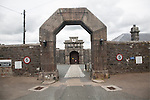 Entrance arches and doorway to Dartmoor prison, Princetown, Devon, England, UK