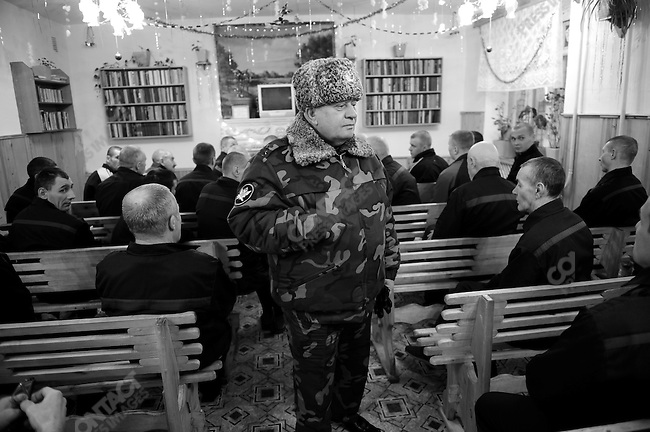 Prisoners waited in the recreationg room to meet the commander of the prison, Colonel Vladimir S. Karagodin, as he visited one of the barracks where some of the elderly and invalid prisoners are housed. Prison colony #7 outside of Novgorod in the Novgorod region south of St. Petersburg, Russia, December 15, 2008