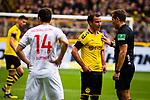 11.05.2019, Signal Iduna Park, Dortmund, GER, 1.FBL, Borussia Dortmund vs Fortuna Düsseldorf, DFL REGULATIONS PROHIBIT ANY USE OF PHOTOGRAPHS AS IMAGE SEQUENCES AND/OR QUASI-VIDEO<br /> <br /> im Bild | picture shows:<br /> Schiedsrichter | Referee Tobias Stieler im Gespräch mit Mario Goetze (Borussia Dortmund #10), <br /> <br /> Foto © nordphoto / Rauch