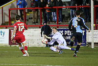 Shay McCartan of Accrington Stanley scores 1-0 to Accrington Stanley <br /> <br /> during the Sky Bet League 2 match between Accrington Stanley and Wycombe Wanderers at the Wham Stadium, Accrington, England on 16 March 2016. Photo by Tony (KIPAX) Greenwood / PRiME Media Images.