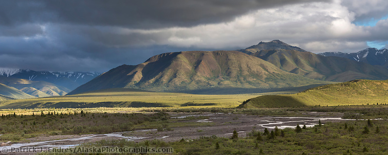 Panorama of Savage river in Denali National Park and Preserve, Alaska.