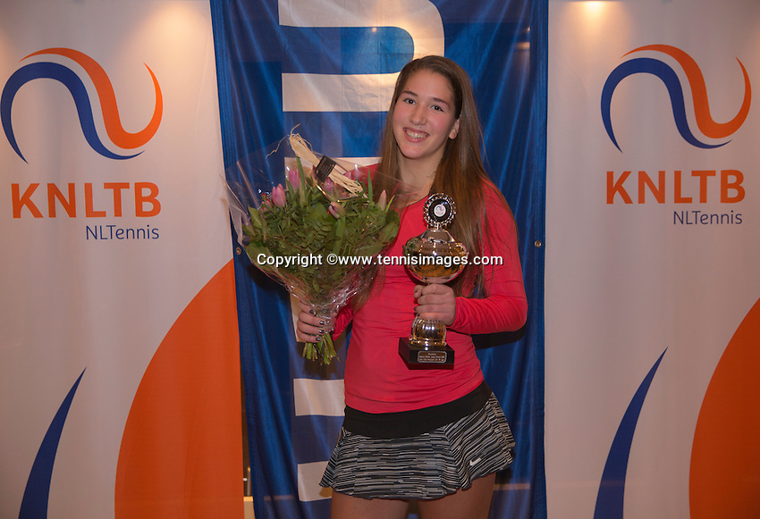 Hilversum, Netherlands, December 4, 2016, Winter Youth Circuit Masters, Winner girls 16 years, Kim Hansen<br /> Photo: Tennisimages/Henk Koster