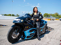 Sep 29, 2019; Madison, IL, USA; NHRA pro stock motorcycle rider Jianna Salinas during the Midwest Nationals at World Wide Technology Raceway. Mandatory Credit: Mark J. Rebilas-USA TODAY Sports