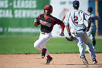 Batavia Muckdogs shortstop Anfernee Seymour (3) running the bases during the first game of a doubleheader against the Mahoning Valley Scrappers on July 2, 2015 at Dwyer Stadium in Batavia, New York.  Batavia defeated Mahoning Valley 4-1.  (Mike Janes/Four Seam Images)