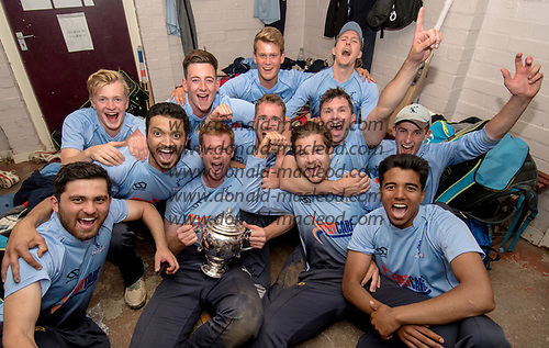 This image is FREE to use (first use only), courtesy of Cricket Scotland - Scottish Cup Final - Carlton CC V Watsonians CC at Forthill, Dundee - the Carlton CC side celebrate their win, with skipper Ally Evans holding the Cup - picture by Donald MacLeod - 20.08.2017 - 07702 319 738 - clanmacleod@btinternet.com - www.donald-macleod.com