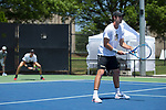 Ian Dempster (foreground) and Christian Seraphim team up at #3 doubles against the South Carolina Gamecocks during Round Two of the 2018 NCAA Men's Tennis Championship at the Wake Forest Tennis Center on May 13, 2018 in Winston-Salem, North Carolina.  The Demon Deacons defeated the Gamecocks 4-1.  (Brian Westerholt/Sports On Film)