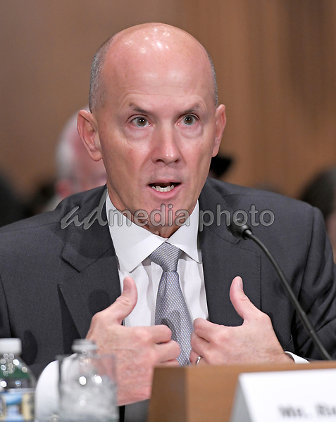 "Richard F. Smith, former Chairman and Chief Executive Officer, Equifax, Inc. gives testimony before the United States Senate Committee on Banking, Housing, and Urban Affairs as they conduct a hearing entitled, ""An Examination of the Equifax Cybersecurity Breach"" on Capitol Hill in Washington, DC on Tuesday, October 3, 2017. Photo Credit: Ron Sachs/CNP/AdMedia"