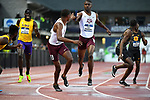 EUGENE, OR - JUNE 8: Bryce Deadmon of the Texas A&M Aggies hands off to Kyree Johnson in the 4x400 meter relay during the Division I Men's Outdoor Track & Field Championship held at Hayward Field on June 8, 2018 in Eugene, Oregon. (Photo by Jamie Schwaberow/NCAA Photos via Getty Images)