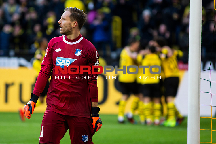 09.02.2019, Signal Iduna Park, Dortmund, GER, 1.FBL, Borussia Dortmund vs TSG 1899 Hoffenheim, DFL REGULATIONS PROHIBIT ANY USE OF PHOTOGRAPHS AS IMAGE SEQUENCES AND/OR QUASI-VIDEO<br /> <br /> im Bild | picture shows:<br /> Oliver Baumann (Hoffenheim #1) ist entt&auml;uscht / w&uuml;tend nach dem zweiten Gegentor,  <br /> <br /> Foto &copy; nordphoto / Rauch