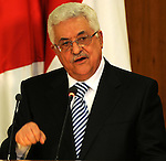 Palestinian President Mahmoud Abbas (Abu Mazen) delivers speech during the signing of reconciliation agreement in Cairo, Egypt on May 4,2011. Fatah and Hamas officials lead a ceremony celebrating the signing of a reconciliation deal intended to repair ties between the rival movements. Photo by Ahmed Asad