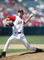 Dennis Cook of the Los Angeles Angels pitches during a 2002 MLB season game at Angel Stadium, in Anaheim, California. (Larry Goren/Four Seam Images)