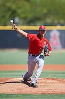 Los Angeles Angels of Anaheim pitcher Jesus Castillo (64) during an Instructional League game against the Colorado Rockies on October 6, 2016 at the Tempe Diablo Stadium Complex in Tempe, Arizona.  (Mike Janes/Four Seam Images)