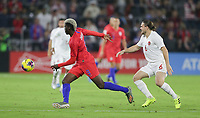 ORLANDO, FL - NOVEMBER 15: Gyasi Zardes #9 of the United States moves past Samuel Piette #6 of Canada during a game between Canada and USMNT at Exploria Stadium on November 15, 2019 in Orlando, Florida.