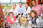 Enjoying Ballybunnion's first Sea Food Festival was locals Maureen Carr(Golf Hotel), Liz Clancy(Cashen Restaurant), Michael Carr and Michelle Tydings(Roof Top Restaurant), Raza Rehman(Indian Kebaisish) and Bernie Heffernan(Hanrahan's Restaurant) pictured here last Saturday in the Roof Top Restaurant.