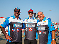 Sep 4, 2017; Clermont, IN, USA; NHRA pro stock drivers Shane Gray (left), Tanner Gray (center) and Johnny Gray during the US Nationals at Lucas Oil Raceway. Mandatory Credit: Mark J. Rebilas-USA TODAY Sports