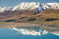 Lake Ohau in Winter, Mackenzie Country, South Island, New Zealand - stock photo, canvas, fine art print