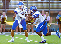 CONWAY VS BENTONVILLE  Nick Mccuin of Conway hands of the ball to Jabrien Earl against Bentonville - Tiger Stadium, Bentonville, AR, on Friday September 6. 2019,   Special to NWA Democrat-Gazette/ David Beach
