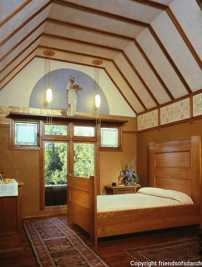Frank Lloyd Wright:  Frank Lloyd Wright Home, Oak Park IL, 1889. Master Bedroom. Photo by Jon Miller, Hedrich-Blessing.