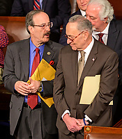 United States Representative Elliot Engel (Democrat of New York) and United States Senate Minority Leader Chuck Schumer (Democrat of New York) converse as the 116th Congress convenes for its opening session in the US House Chamber of the US Capitol in Washington, DC on Thursday, January 3, 2019. Photo Credit: Ron Sachs/CNP/AdMedia