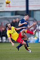 8th February 2020; Dens Park, Dundee, Scotland; Scottish Championship Football, Dundee versus Partick Thistle; Stuart Bannigan of Partick Thistle challenges for the ball with Shaun Byrne of Dundee