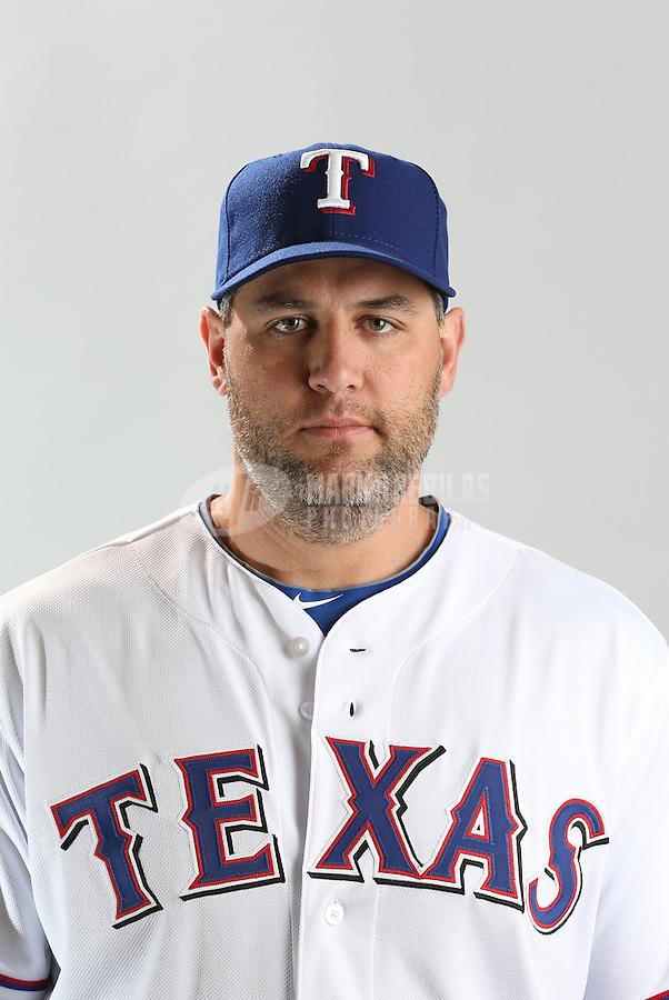 Feb. 20, 2013; Surprise, AZ, USA: Texas Rangers first baseman Lance Berkman poses for a portrait during photo day at Surprise Stadium. Mandatory Credit: Mark J. Rebilas-