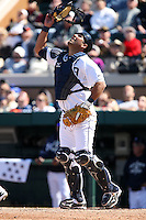 March 5, 2010:  Catcher Gerald Laird of the Detroit Tigers during a Spring Training game at Joker Marchant Stadium in Lakeland, FL.  Photo By Mike Janes/Four Seam Images