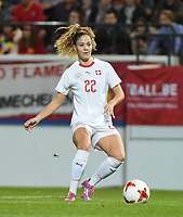 20181005 - LEUVEN , BELGIUM : Switzerland's Luana Buhler  pictured during the female soccer game between the Belgian Red Flames and Switzerland , the first leg in the semi finals play offs for qualification for the World Championship in France 2019, Friday 5 th october 2018 at OHL Stadion Den Dreef in Leuven , Belgium. PHOTO SPORTPIX.BE | DIRK VUYLSTEKE