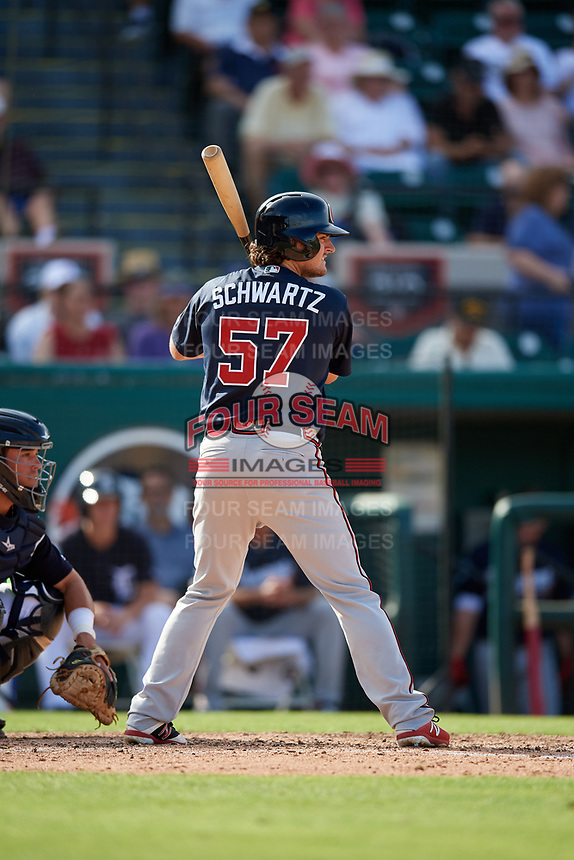Atlanta Braves right fielder Gary Schwartz (57) at bat during a Grapefruit League Spring Training game against the Detroit Tigers on March 2, 2019 at Publix Field at Joker Marchant Stadium in Lakeland, Florida.  Tigers defeated the Braves 7-4.  (Mike Janes/Four Seam Images)
