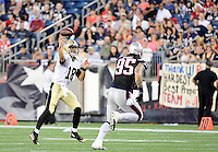 Thursday August 11, 2016: New Orleans Saints quarterback Garrett Grayson (18) throws a pass during an NFL pre-season game between the New Orleans Saints and the New England Patriots held at Gillette Stadium in Foxborough Massachusetts. The Patriots defeat the Saints 34-22 in regulation time. Eric Canha/CSM