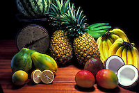 Still life of Island fruits- papaya, banana, coconut, mango, lemon, pineapple, watermelon