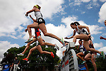 28 MAY 2016:  The women's 3000 meter steeple chase gets off to a fast start during the Division III Men's and Women's Outdoor Track & Field Championship held at Walston Hoover Stadium on the Wartburg College campus in Waverly, IA. Jacqueline Huben of SUNY Geneseo won the race with a time of 10:38.60.  Conrad Schmidt/NCAA Photos