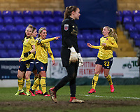 13th February 2020; Deva Stadium, Chester, Cheshire, England; Womens Super League Football, Liverpool Womens versus Arsenal Womens;  Jordan Nobbs of Arsenal Women points towards the dugout after scoring the second goal for Arsenal as Liverpool keeper Preuss looks on dejectedly