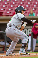 Clinton LumberKings outfielder Austin Cousino (27) squares to bunt during a Midwest League game against the Wisconsin Timber Rattlers on May 9th, 2016 at Fox Cities Stadium in Appleton, Wisconsin.  Clinton defeated Wisconsin 6-3. (Brad Krause/Four Seam Images)