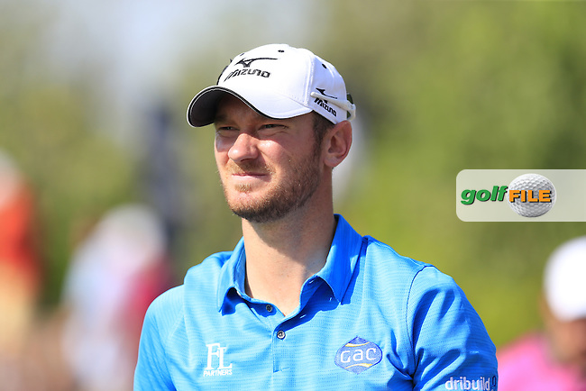 Chris Wood (ENG) on the 14th tee during Round 1 of the DP World Tour Championship at the Earth course,  Jumeirah Golf Estates in Dubai, UAE,  19/11/2015.<br /> Picture: Golffile | Thos Caffrey<br /> <br /> All photo usage must carry mandatory copyright credit (&copy; Golffile | Thos Caffrey)