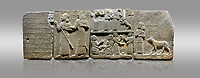 """Picture & image of Hittite monumental relief sculpted orthostat stone panel of Royal Buttress. Basalt, Karkamıs, (Kargamıs), Carchemish (Karkemish), 900-700 B.C. Anatolian Civilisations Museum, Ankara, Turkey.<br /> <br /> Hieroglyph panel1 (left) - Discourse of Yariris. Yariris presents his predecessor, the eldest son Kamanis, to his people. <br /> Second From left panel 2  -  King Araras holds his son Kamanis from the wrist. King carries a sceptre in his hand and a sword at his waist while the prince leans on a stick and carries a sword on his shoulder. <br /> Hieroglyphs reads; """"This is Kamanis and his siblings.) held his hand and despite the fact that he is a child, I located him on the temple. This is Yariris' image"""".  <br /> <br /> Panel 3 - This panels scene showing 8 out of 10 children of the King, the hieroglyphs reads as follows: """"Malitispas, Astitarhunzas, Tamitispas,Isikaritispas, Sikaras, Halpawaris, Ya hilatispas"""". Above, there are three figures holding knucklebones (astragalus) and one figure walking by leaning on a stick; below are two each figures playing the knucklebones and turning whirligigs.<br />  <br /> Panel 4 - The queen carries her youngest son. The hieroglyphs located above read; """"and this is Tuwarsais; the prince desired by the ruler, whose exclusiveness has been exposed"""". While the queen carries her son in her lap, she holds the rope of the colt coming behind with her other hand. The muscles of the colt are schematic. <br /> <br /> Against a gray background."""