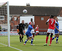 Fleetwood Town's Jordy Hiwula heads wide of the goal from close range<br /> <br /> Photographer Stephen White/CameraSport<br /> <br /> The EFL Sky Bet League One - Fleetwood Town v Oldham Athletic - Saturday 9th September 2017 - Highbury Stadium - Fleetwood<br /> <br /> World Copyright &copy; 2017 CameraSport. All rights reserved. 43 Linden Ave. Countesthorpe. Leicester. England. LE8 5PG - Tel: +44 (0) 116 277 4147 - admin@camerasport.com - www.camerasport.com