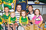 Cathal O'Donoghue, Darragh and Mark Curran, Naoise O'Donoghue, Sadhbh Curran Beaufort meet Killian Young at the opening of the Kerry GAA shop in the Killarney Outlet Centre on Saturday