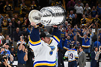 June 12, 2019: St. Louis Blues goaltender Jordan Binnington (50) hoists the Stanley Cup at game 7 of the NHL Stanley Cup Finals between the St Louis Blues and the Boston Bruins held at TD Garden, in Boston, Mass.  The Saint Louis Blues defeat the Boston Bruins 4-1 in game 7 to win the 2019 Stanley Cup Championship.  Eric Canha/CSM.