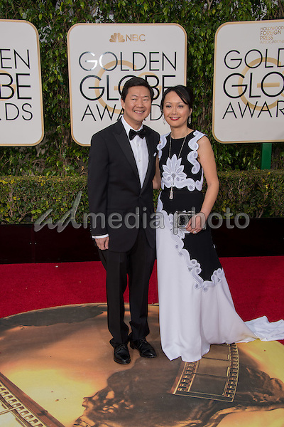 Ken Jeong, presenter, and Tran Jeong arrive at the 73rd Annual Golden Globe Awards at the Beverly Hilton in Beverly Hills, CA on Sunday, January 10, 2016. Photo Credit: HFPA/AdMedia