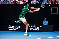 30th January 2020; Melbourne Park, Melbourne, Victoria, Australia; Australian Open Tennis, Day 11; Novak Djokovic of Serbia returns the ball during the semifinals of the 2020 Australian Open on January 30 2020, at Melbourne Park in Melbourne, Australia. (Photo by Jason Heidrich/Icon Sportswire)