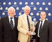 The 2014 Junior Ryder Cup will be held over the Rosemount Course, Blairgowrie Golf CLub, Perthshire. Pictured here are Vice Captain, Alistair Drummond (L), Captain, Allan Mackay (c) and Douglas Cleeton, Managing Secrretary (r) : Picture Stuart Adams www.golftourimages.com: 24th August 2012