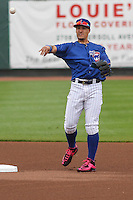 Iowa Cubs shortstop Javier Baez (9) throws to first during a Pacific Coast League game against the Colorado Springs Sky Sox on May 10th, 2015 at Principal Park in Des Moines, Iowa.  Iowa defeated Colorado Springs 14-2.  (Brad Krause/Four Seam Images)