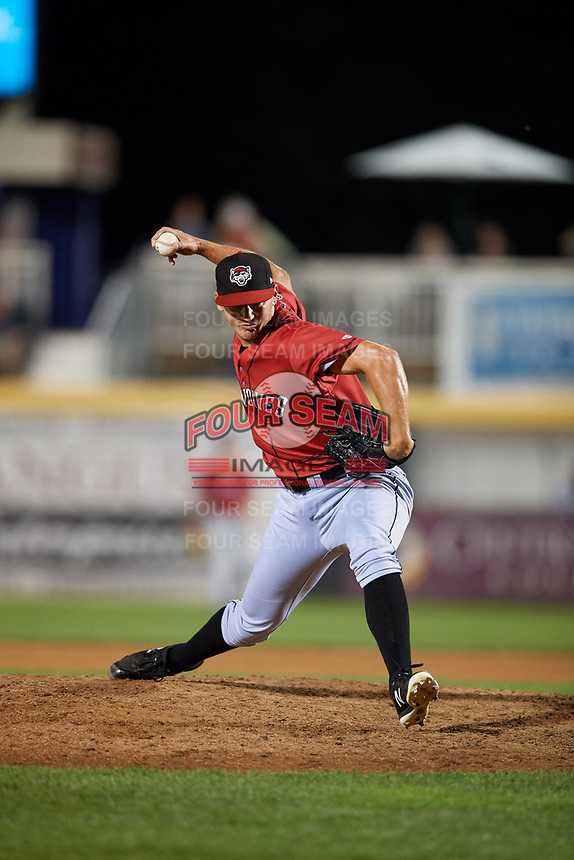 Erie SeaWolves relief pitcher John Schreiber (35) delivers a pitch during a game against the Harrisburg Senators on August 29, 2018 at FNB Field in Harrisburg, Pennsylvania.  Harrisburg defeated Erie 5-4.  (Mike Janes/Four Seam Images)