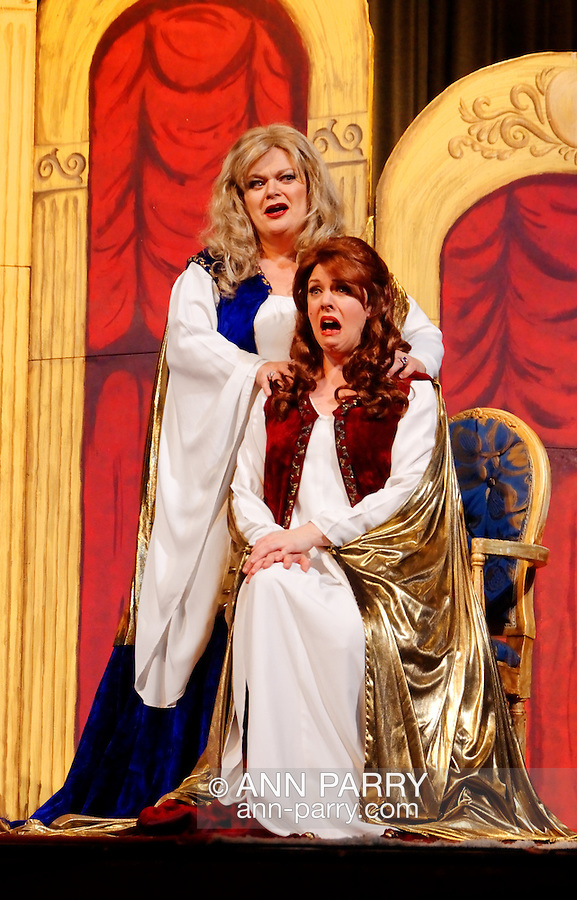 """MERRICK, NY - February 21: Duelling Divas stars, sopranos Birgit Fioravante and Wendy Reynolds - wearing Roman cloaks and singing 'Mira, O Norma' and 'Casta Diva' from Bellini's """"Norma"""" - in comic opera concert presented by Merrick Bellmore Community Concert Association on February 21, 2010 at Merrick, NY."""