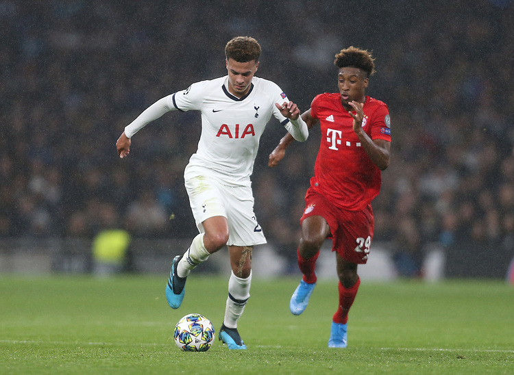 Tottenham Hotspur's Dele Alli and Bayern Munich's Kingsley Coman<br /> <br /> Photographer Rob Newell/CameraSport<br /> <br /> UEFA Champions League Group B  - Tottenham Hotspur v Bayern Munich - Tuesday 1st October 2019 - White Hart Lane - London<br />  <br /> World Copyright © 2018 CameraSport. All rights reserved. 43 Linden Ave. Countesthorpe. Leicester. England. LE8 5PG - Tel: +44 (0) 116 277 4147 - admin@camerasport.com - www.camerasport.com